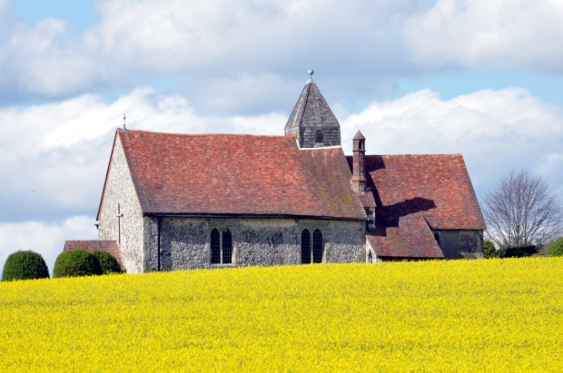 Church in field